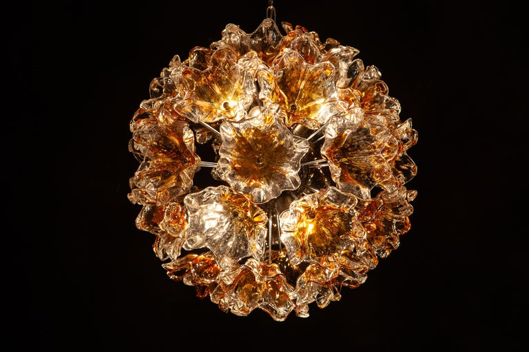Italian Murano Glass Flowers Sputnik Chandelier by Mazzega, 1960 For Sale 6