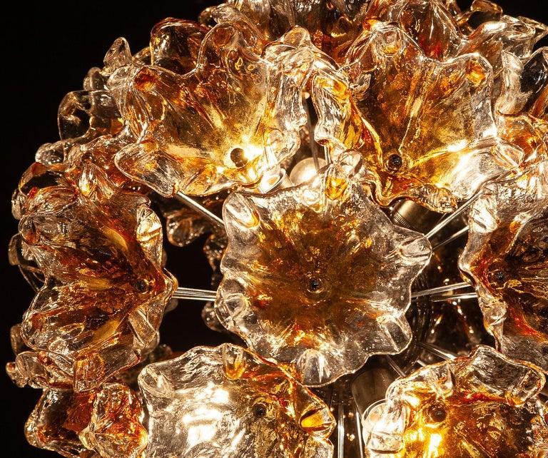 Italian Murano Glass Flowers Sputnik Chandelier by Mazzega, 1960 For Sale 7