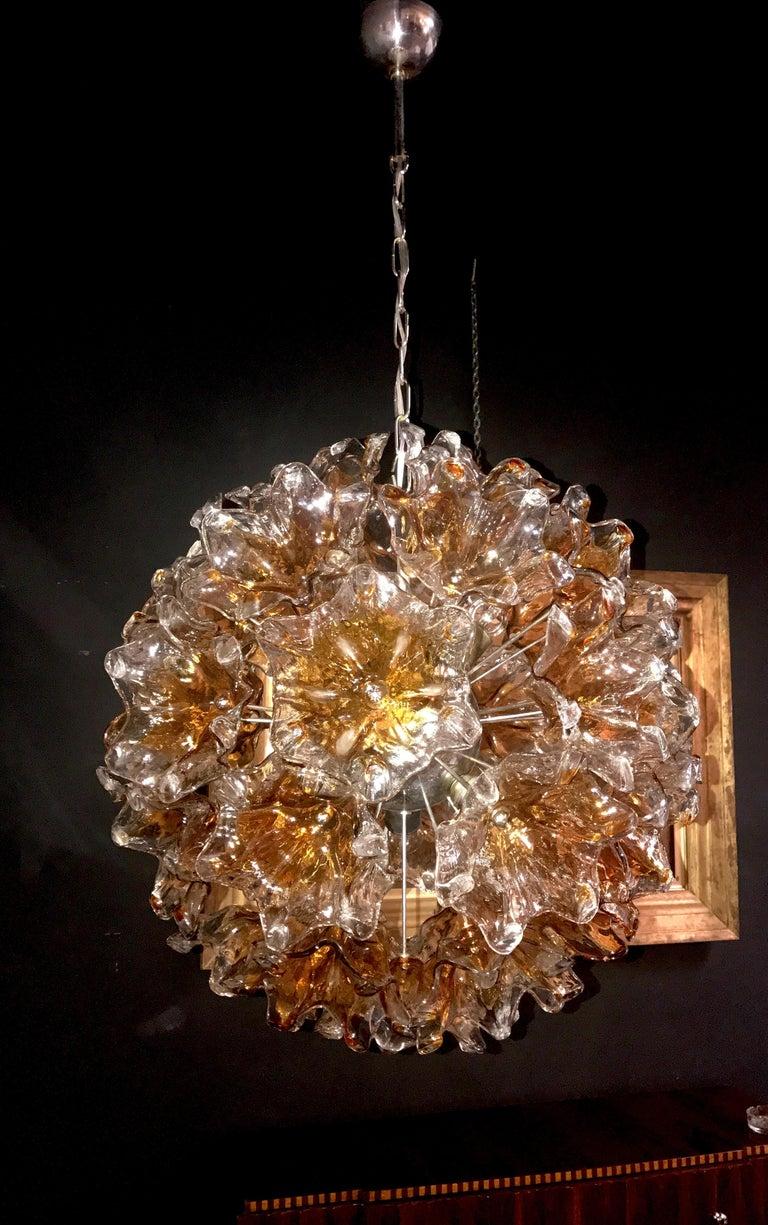 Italian Murano Glass Flowers Sputnik Chandelier by Mazzega, 1960 For Sale 9