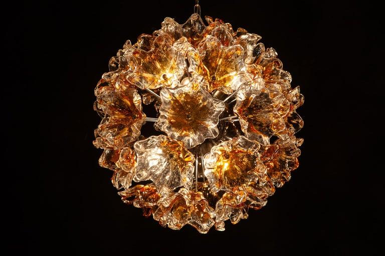Mid-Century Modern Italian Murano Glass Flowers Sputnik Chandelier by Mazzega, 1960 For Sale