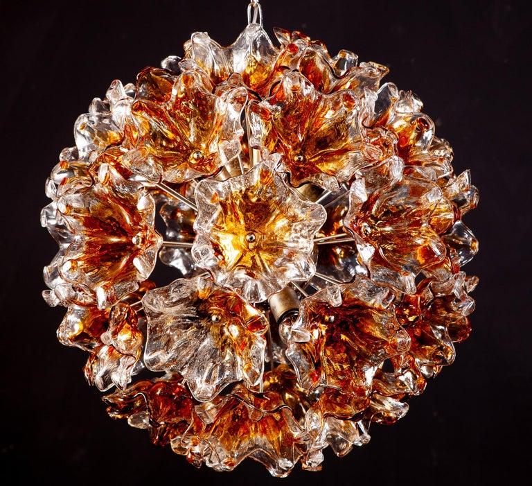 20th Century Italian Murano Glass Flowers Sputnik Chandelier by Mazzega, 1960 For Sale