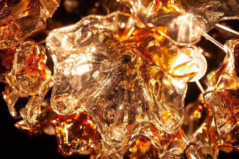 Blown Glass Italian Murano Glass Flowers Sputnik Chandelier by Mazzega, 1960 For Sale