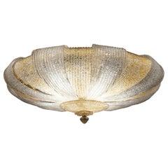 Italian Murano Glass Gold Leaves Modern Flushmount or Ceiling Light