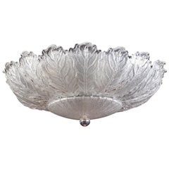 Italian Murano Glass Ice Leaves Ceiling Light or Flushmount, 1970