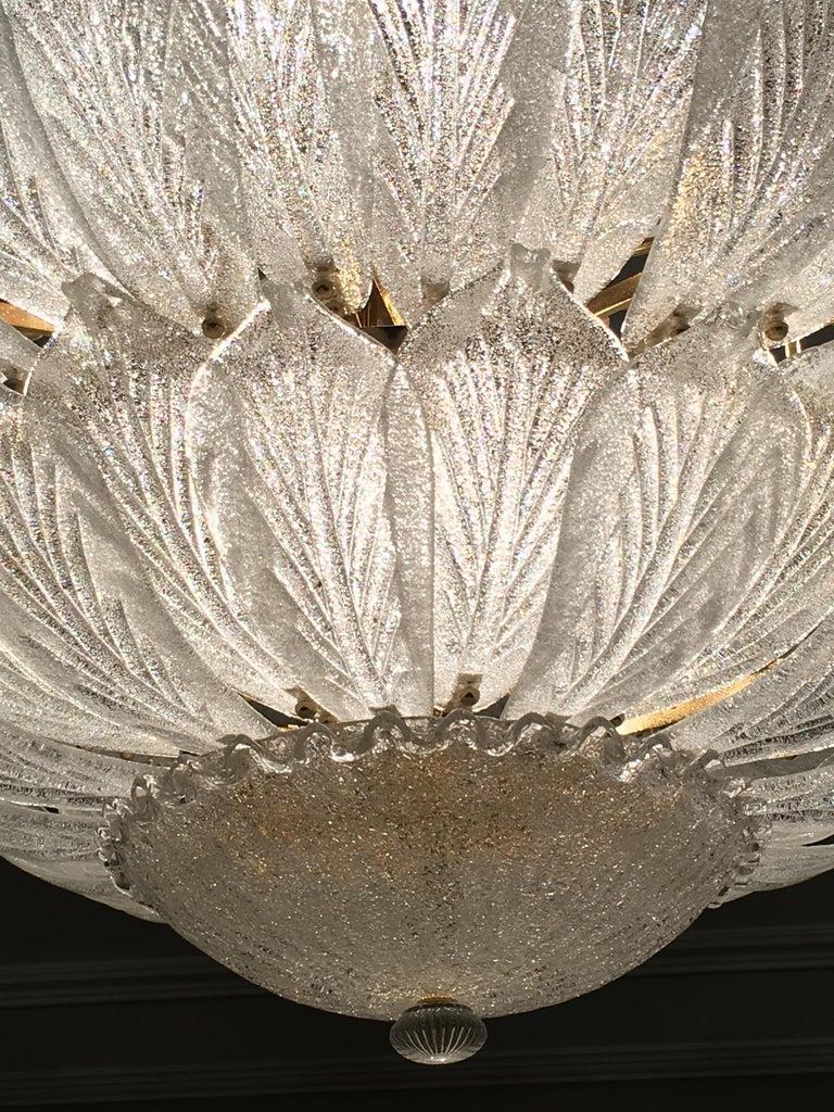 Italian Murano Glass Leave Flush Mount Chandelier For Sale 5