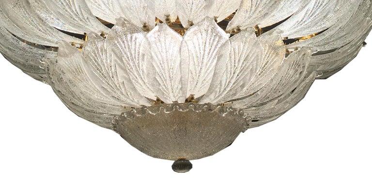 Italian Murano Glass Leave Flush Mount Chandelier For Sale 6