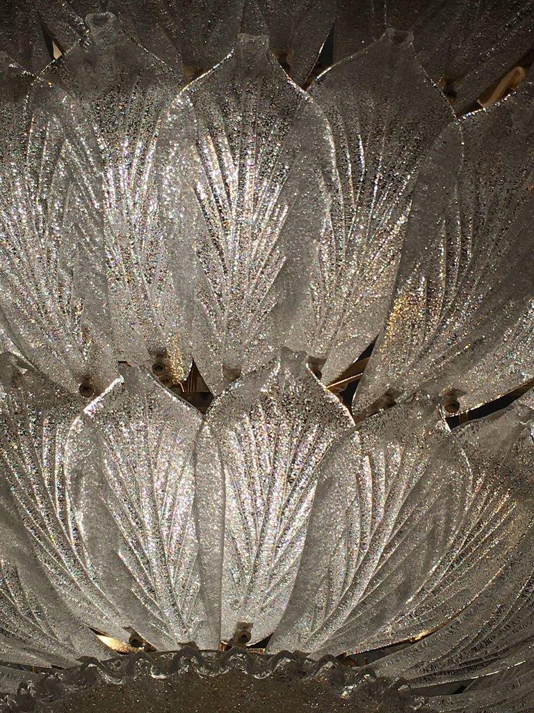 Italian Murano Glass Leave Flush Mount Chandelier For Sale 8