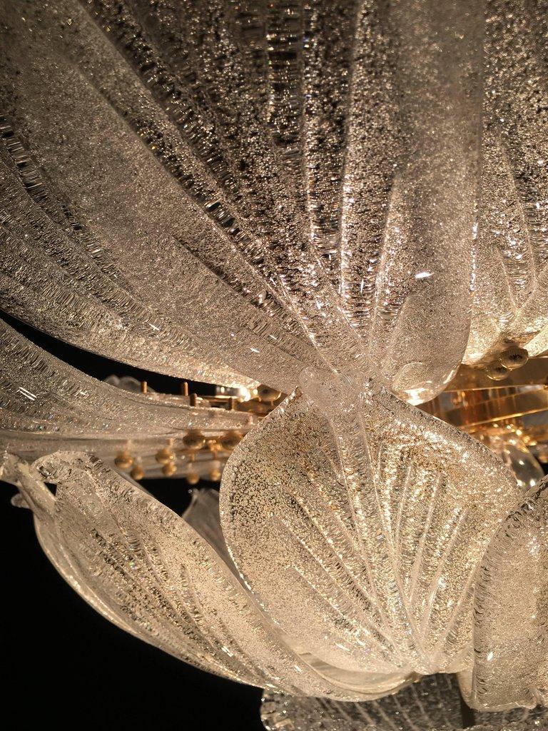 Italian Murano Glass Leave Flush Mount Chandelier For Sale 9