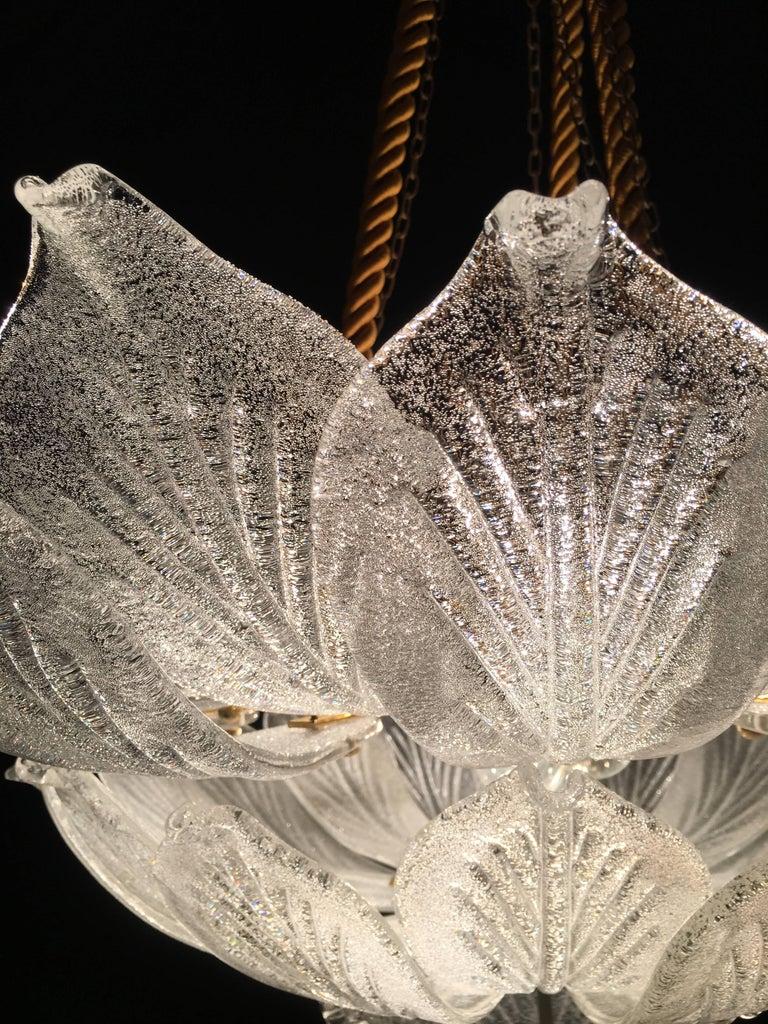 20th Century Italian Murano Glass Leave Flush Mount Chandelier For Sale