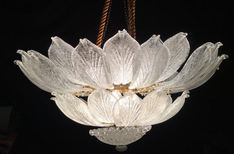 Italian Murano Glass Leave Flush Mount Chandelier For Sale 3