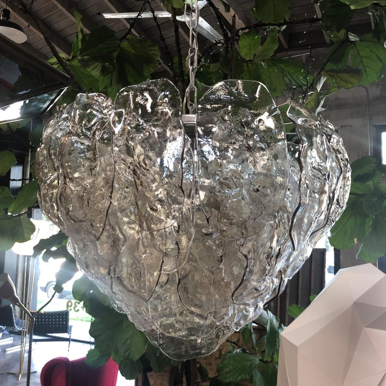 Italian vintage chandelier Murano glass leaves by Mazzega. Made in Italy in the 1960s.