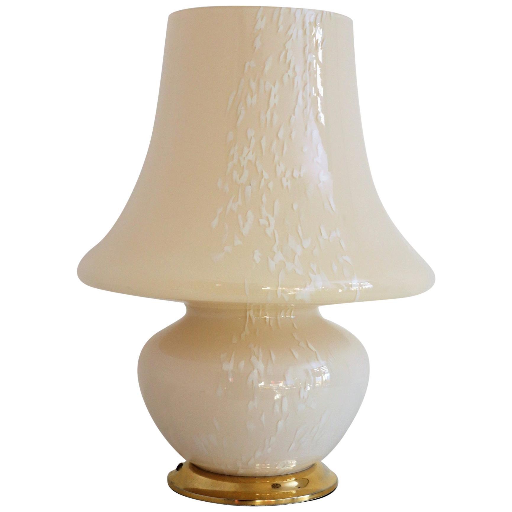Italian Murano Glass Mushroom Table Lamp in Yellow Amber Glass, 1970s