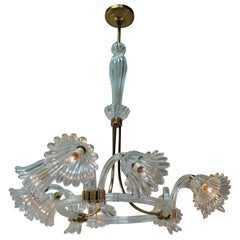 Italian Murano Glass Nine-Light Chandelier