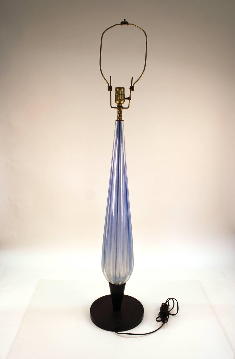 Mid-Century Modern Italian Murano Glass Pale Blue Table Lamp For Sale