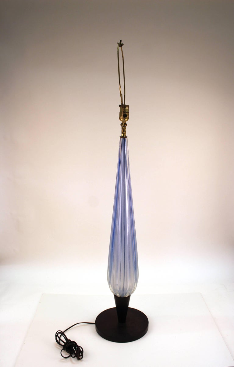 Italian Murano Glass Pale Blue Table Lamp In Good Condition For Sale In New York, NY