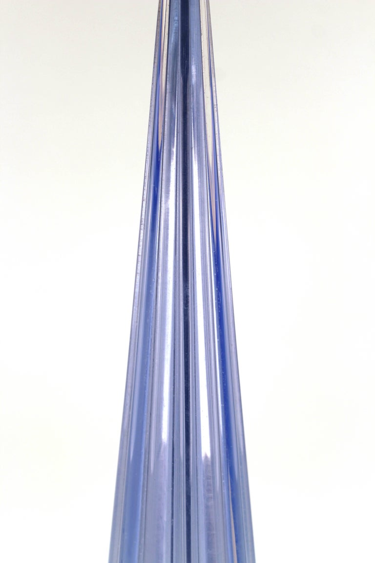 20th Century Italian Murano Glass Pale Blue Table Lamp For Sale