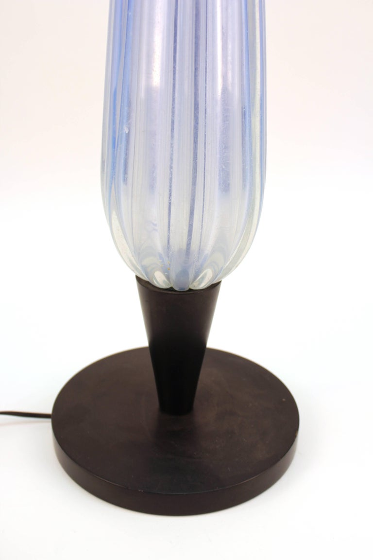 Italian Murano Glass Pale Blue Table Lamp For Sale 1