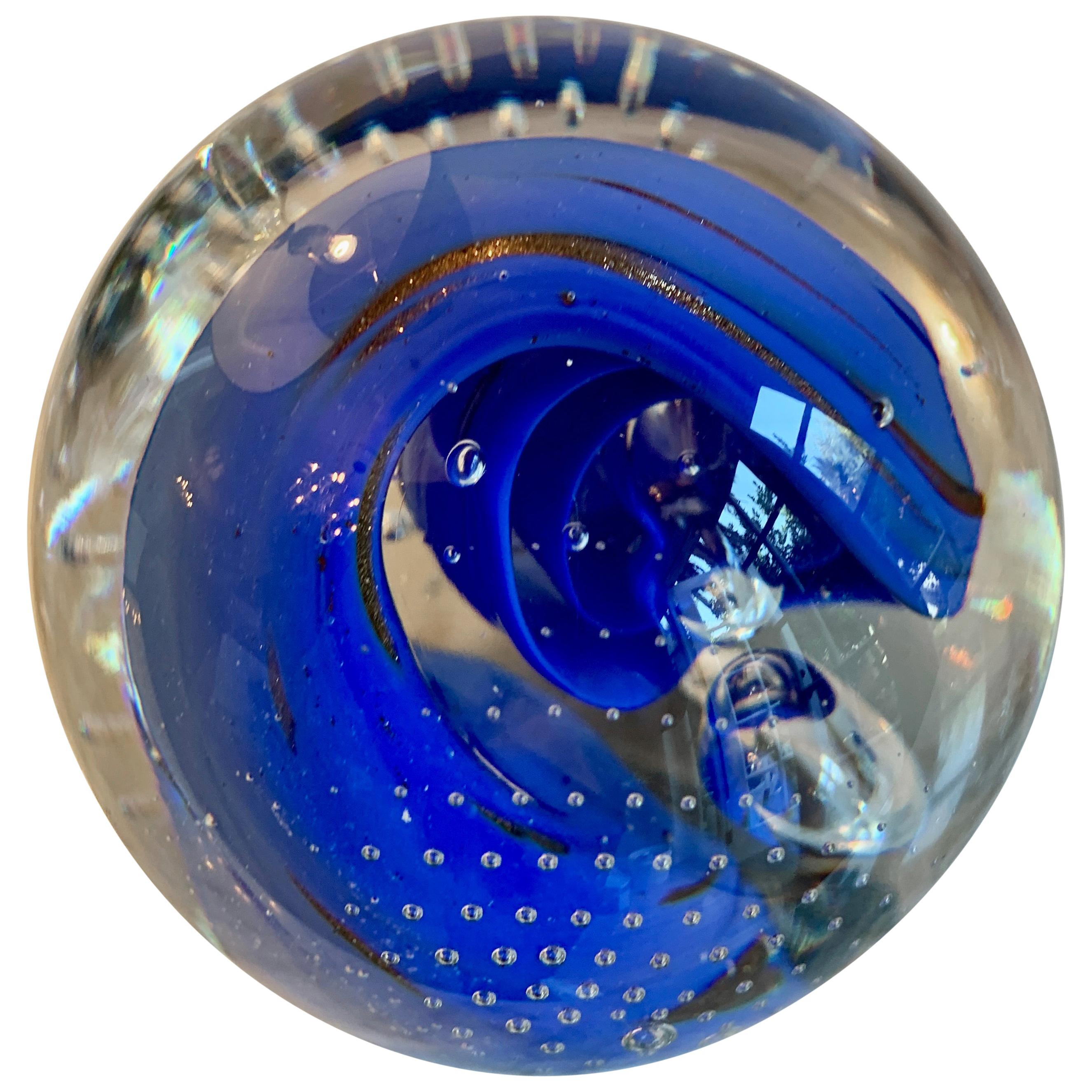 Italian Murano Glass Paper Weight with Blue Wave