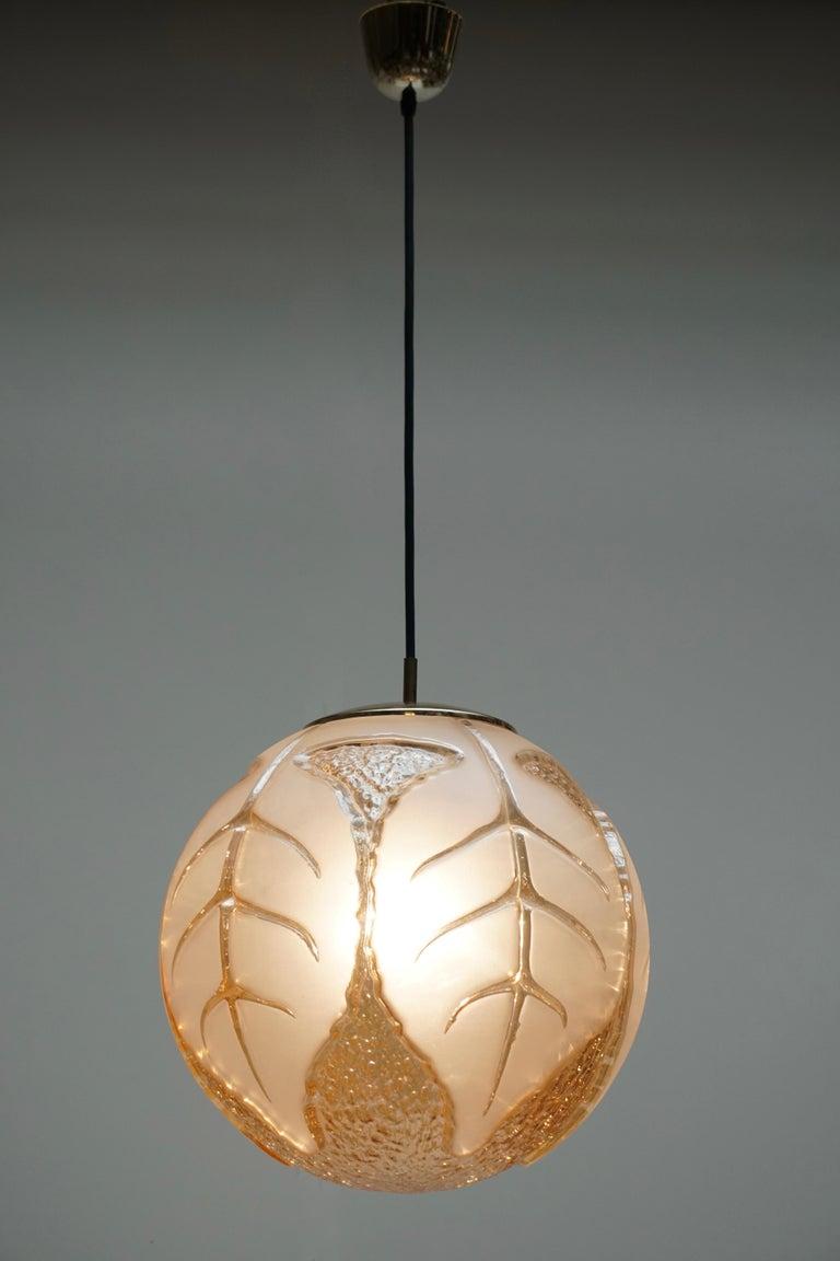 Brass Italian Murano Glass Pendant Light For Sale
