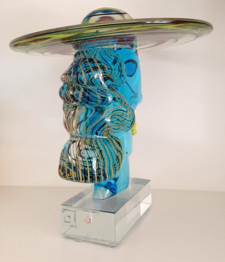 Italian Murano Glass Picasso Head Sculpture by Glass Master Walter Furlan In Excellent Condition For Sale In Melbourne, Victoria