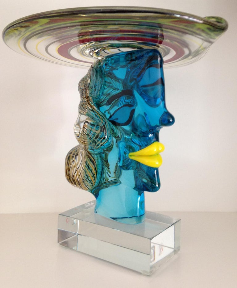 20th Century Italian Murano Glass Picasso Head Sculpture by Glass Master Walter Furlan For Sale