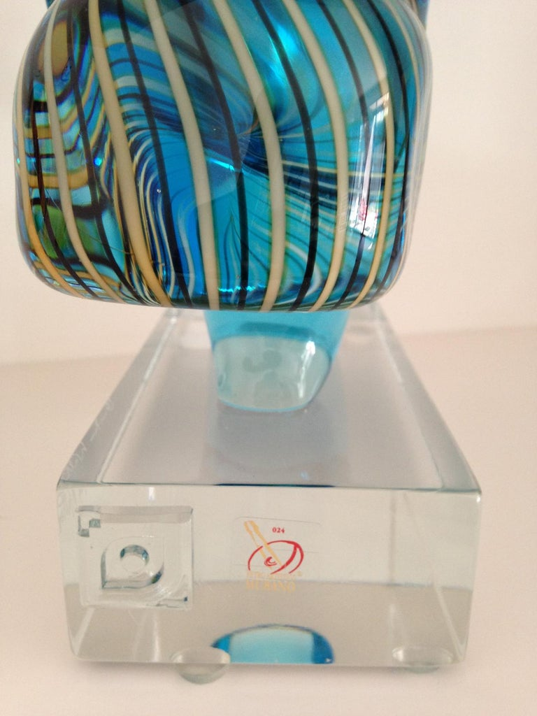 Italian Murano Glass Picasso Head Sculpture by Glass Master Walter Furlan For Sale 3