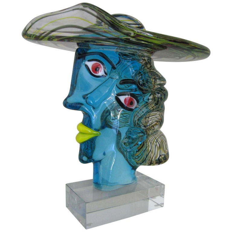 Italian Murano Glass Picasso Head Sculpture by Glass Master Walter Furlan For Sale