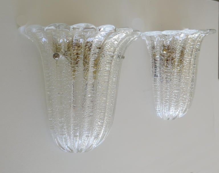 Italian Murano Glass Sconces by Barovier&Toso In Good Condition For Sale In Los Angeles, CA