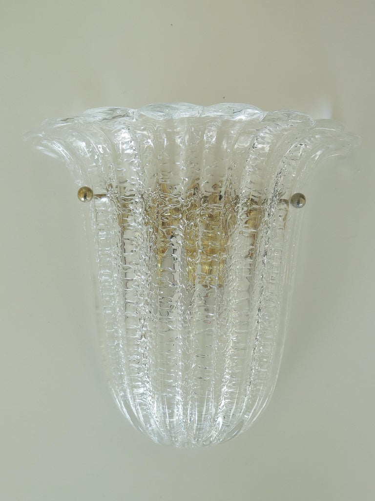 20th Century Italian Murano Glass Sconces by Barovier&Toso For Sale