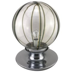 Mid century Modern Italian Murano Glass Spherical Table Lamp In Chrome, 1960s
