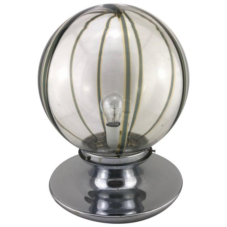 Mid century Modern Italian Murano Glass Spherical Table Lamp In Chrome, 1960s For Sale
