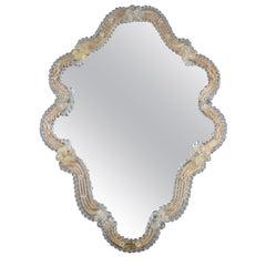 Italian Murano Glass Wall Mirror Clear and Light Golden Glass, circa 1950s