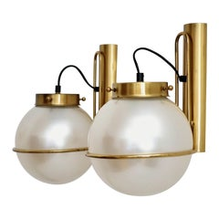 Italian Murano Glass Wall Sconces in Pearl Optic with Brass Details, 1970s
