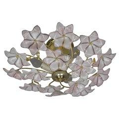 Italian Murano Glass White and Pink Flower Ceiling Light or Chandelier, 1970s