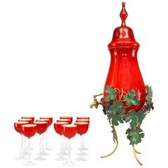 Italian Murano Glass Wine Service Comprised of 14 Glasses and Decanter