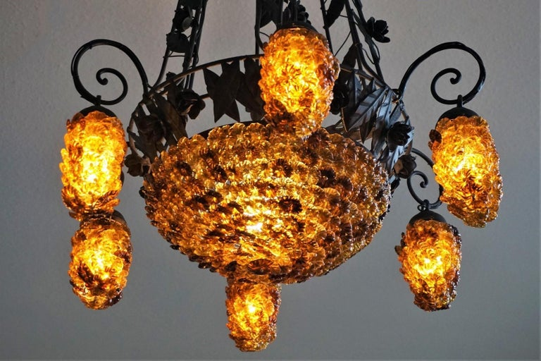 Painted Italian Murano Glass Wrought Iron Seven-Light Chandelier, 1930s For Sale