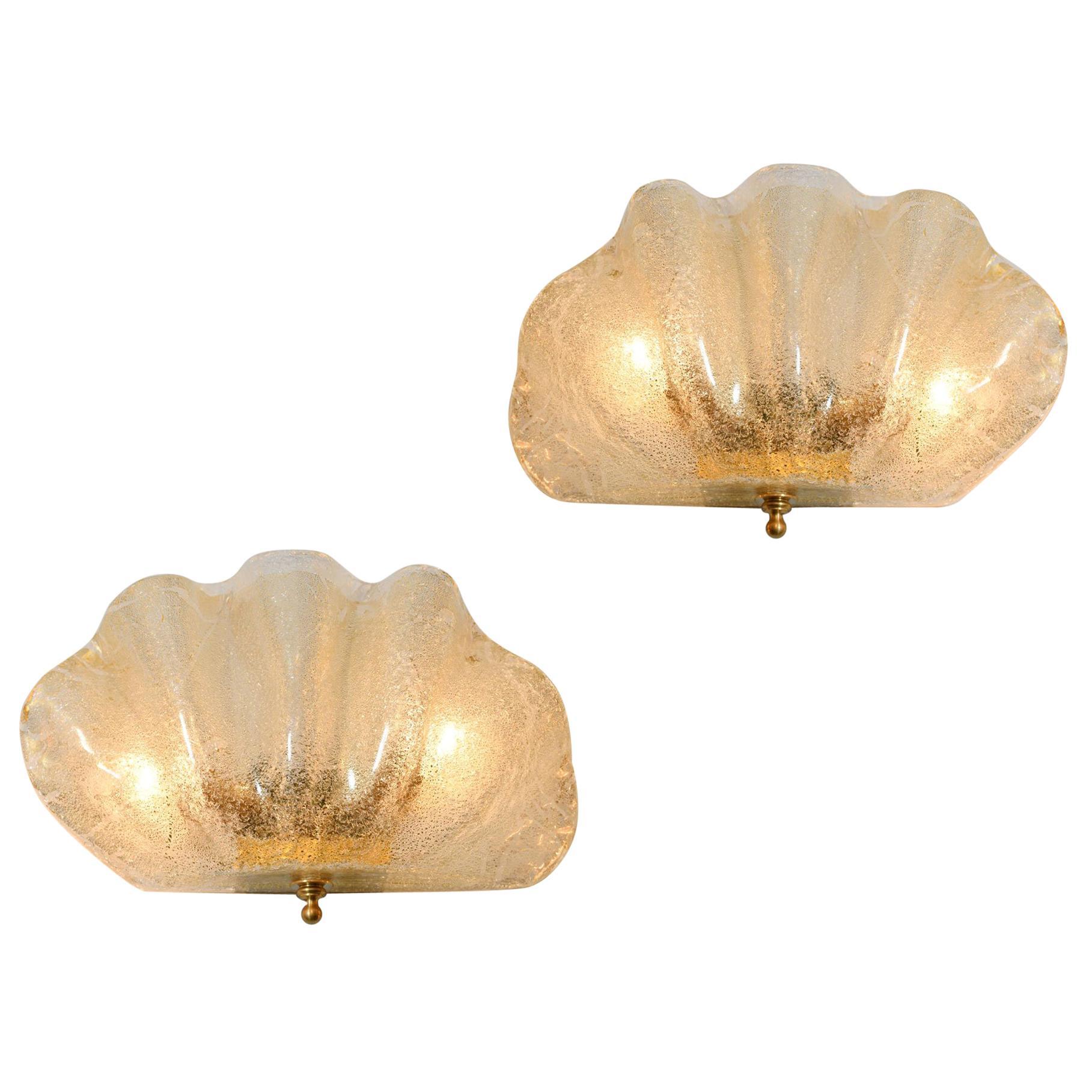Italian Murano Gold Flecked Clam Shell Wall Light