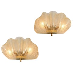 Italian Murano Gold Flecked Clam Shell Wall Light