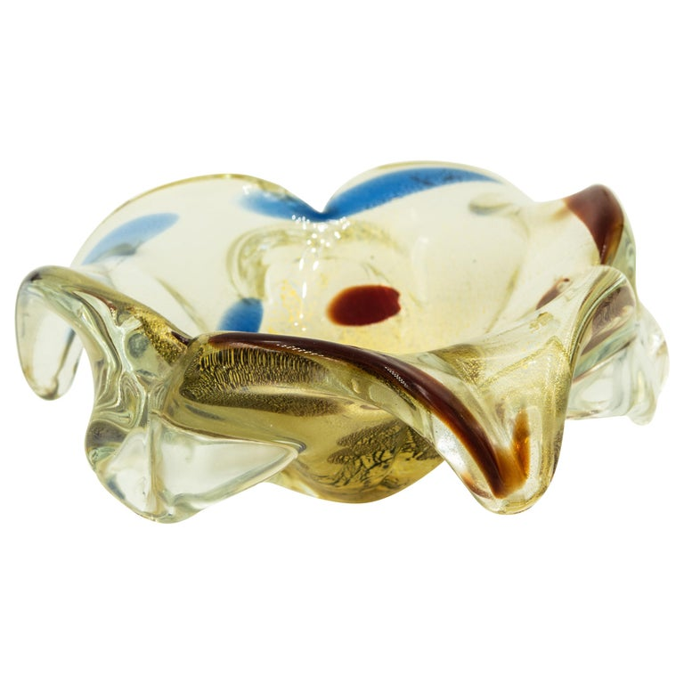 Italian Murano Gold Red Blue Purple Art Glass Bowl Ashtray Trinket Candy Holder For Sale