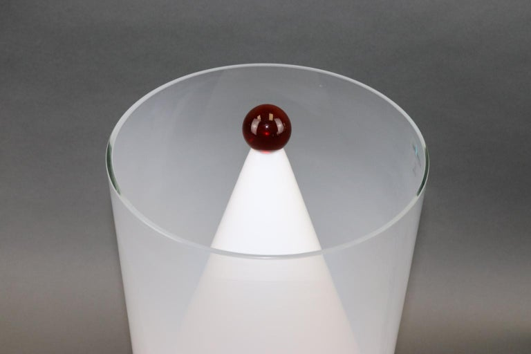 Blown Glass Italian Murano Hand Blown Table Lamp Amber Glass Ball Detail For Sale