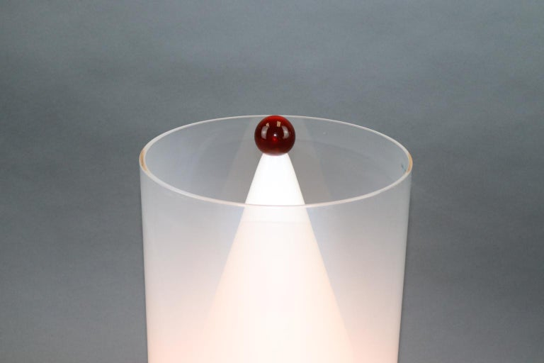 Italian Murano Hand Blown Table Lamp Amber Glass Ball Detail For Sale 2
