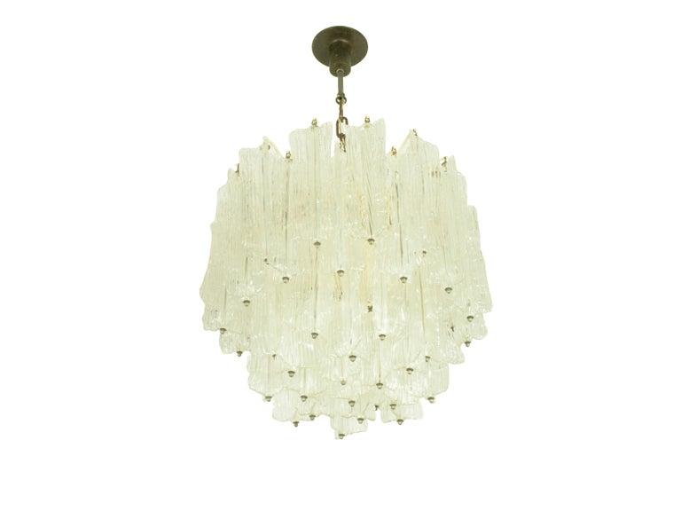 Mid-Century Modern Italian Murano Handmade Glass Chandelier by Toni Zuccheri for Venini, 1960s For Sale