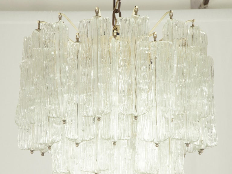 Hand-Crafted Italian Murano Handmade Glass Chandelier by Toni Zuccheri for Venini, 1960s For Sale