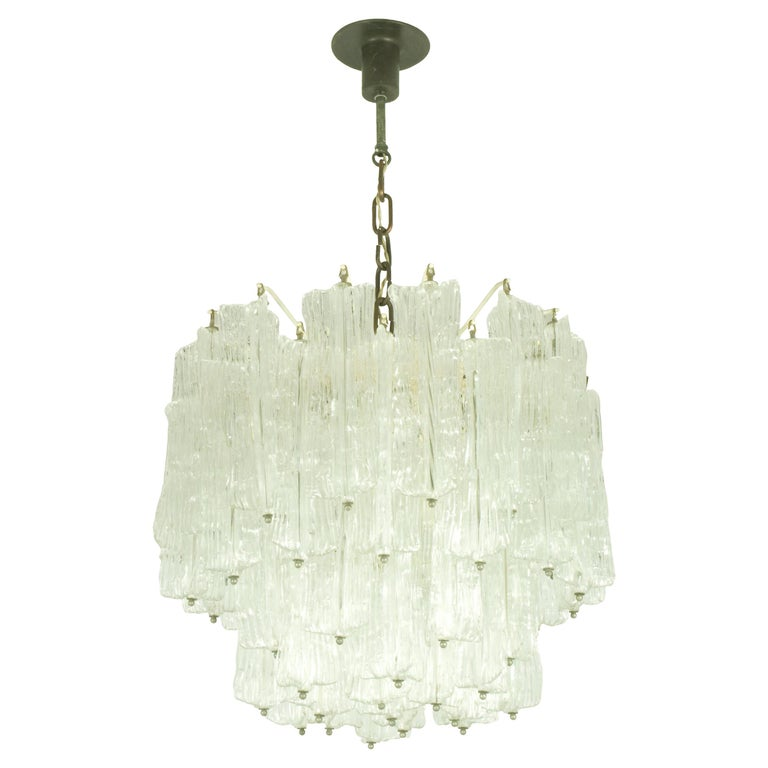 Italian Murano Handmade Glass Chandelier by Toni Zuccheri for Venini, 1960s For Sale