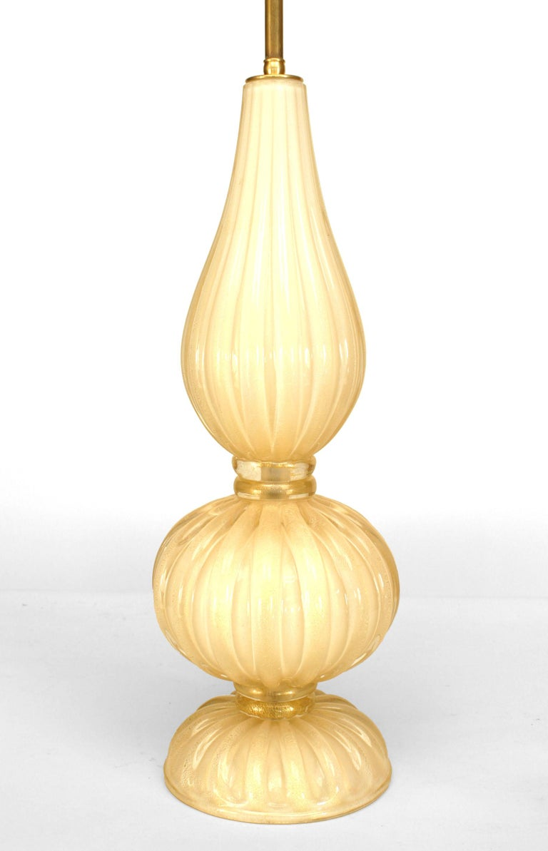 Italian Murano light beige and gold dusted