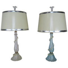 Italian Murano Lamps with Parchment Shades, Pair
