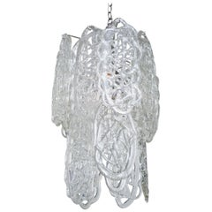 Italian Murano Mazzega Glass Pendant Chandelier
