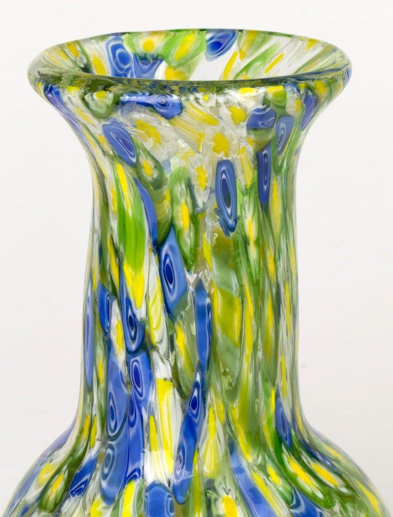 Italian Murano Midcentury Murrine Art Glass Vase For Sale 3
