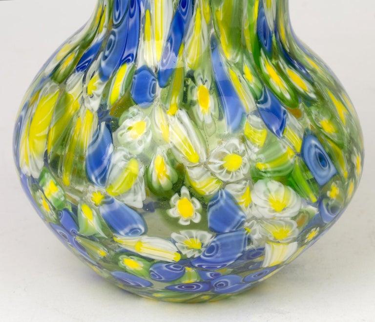 Italian Murano Midcentury Murrine Art Glass Vase For Sale 4