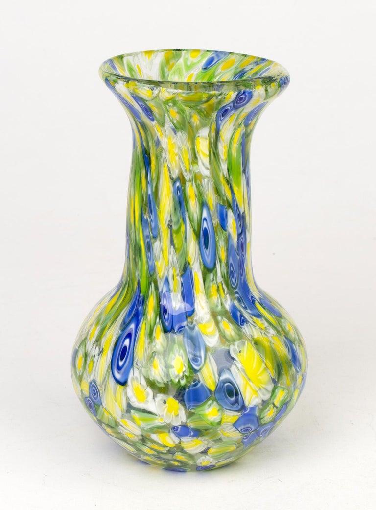 20th Century Italian Murano Midcentury Murrine Art Glass Vase For Sale